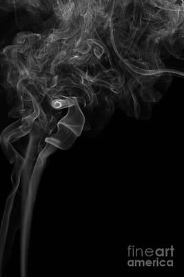 Abstract Vertical Monochrome White Mood Colored Smoke Wall Art 05 Print by Alexandra K