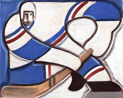Hockey Painting - Abstract Vintage Hockey Player Art by Tommervik