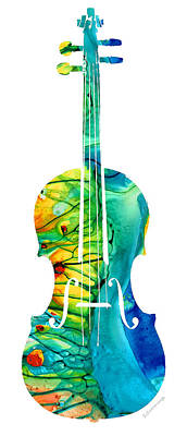 Composer Painting - Abstract Violin Art By Sharon Cummings by Sharon Cummings