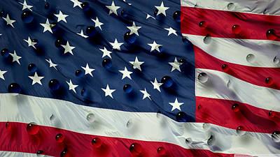 Abstract Water Drops On Usa Flag Print by Georgeta Blanaru