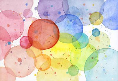 Shapes Painting - Abstract Watercolor Rainbow Circles by Olga Shvartsur