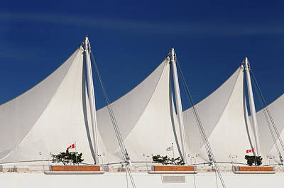 Abstract Photograph - Abstract White Canada Place Sails In Vancouver Against A Blue Sk by Reimar Gaertner