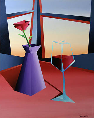 Mark Webster Painting - Abstract Wine At Sunset 1 by Mark Webster