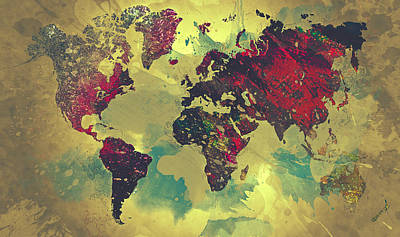 Abstract World Map Print by Taylan Soyturk