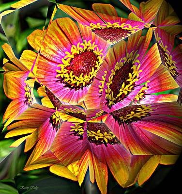 Fractal Digital Art - Abstract Yellow Flame Zinnia by Kathy Kelly