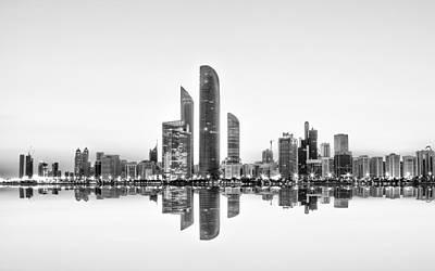 Abu Dhabi Urban Reflection Print by Akhter Hasan