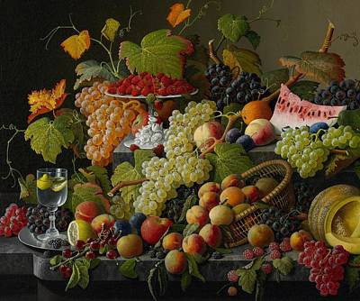 Raspberry Painting - Abundant Fruit by Severin Roesen