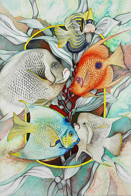 Angelfish Painting - Abundant On The Reef by Liduine Bekman