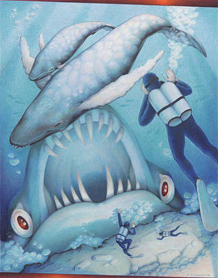 Whale Drawing - Abysmal Maw by Amy S Turner