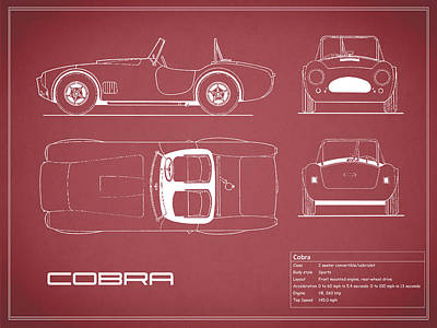 Cobra Photograph - Ac Cobra Blueprint - Red by Mark Rogan