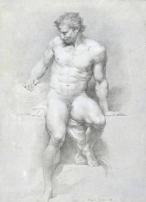 Blue And Grey Drawing - Academic Nude by Pompeo Batoni