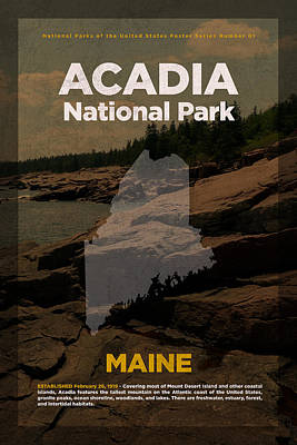 National Parks Mixed Media - Acadia National Park In Maine Travel Poster Series Of National Parks Number 01 by Design Turnpike