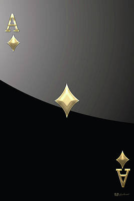 Ace Of Diamonds In Gold On Black  Original by Serge Averbukh