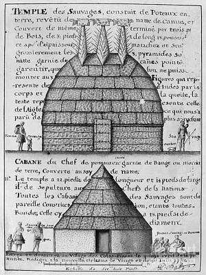 1732 Photograph - Acolapissa Temple & Cabin by Granger