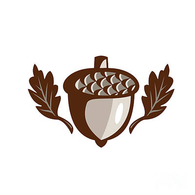 Acorn Digital Art - Acorn Oak Leaf Isolated Retro by Aloysius Patrimonio