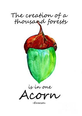 Acorn Quote -emerson Print by Sweeping Girl