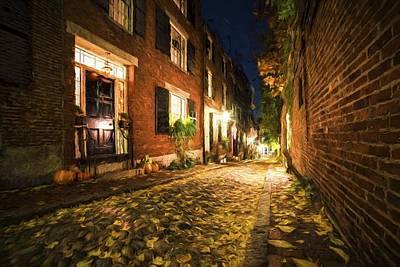 Acorn Digital Art - Acorn Street Autumn Boston Mass Painterly by Toby McGuire