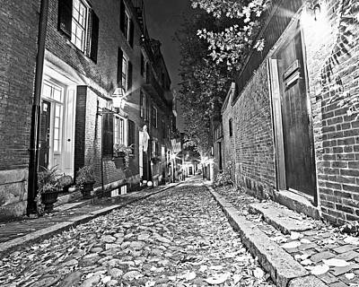 Acorn Street Autumn Boston Mass Street Light Black And White Print by Toby McGuire