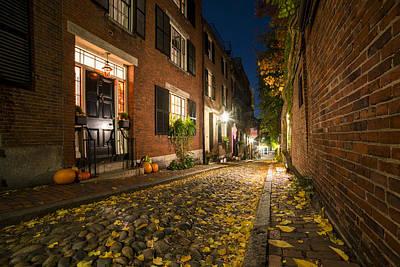 Acorn Digital Art - Acorn Street Autumn Boston Mass by Toby McGuire