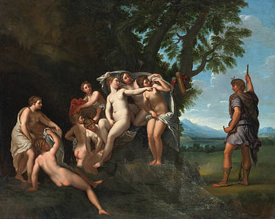 Francesco Albani Painting - Actaeon Surprising Diana And Her Nymphs by Studio of Francesco Albani
