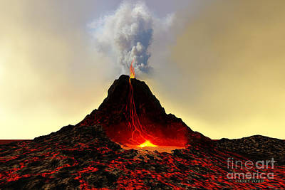Active Volcano Print by Corey Ford