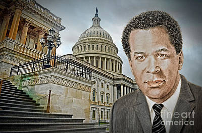 Black Tie Drawing - Actor, Songwriter, Singer And Pastor Clifton Davis At The Capitol In D C by Jim Fitzpatrick