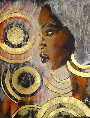 Gold Earrings Mixed Media - Adaeze The King's Daughter by Victoria Rosenfield