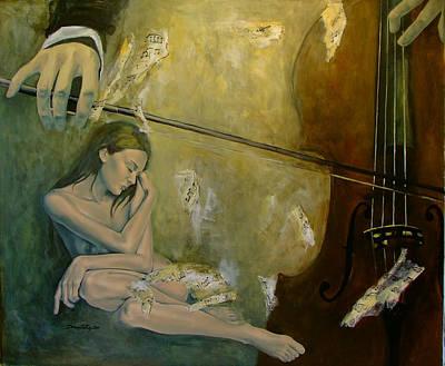 Cello Painting - Adagio  Sentimental Confusion by Dorina  Costras