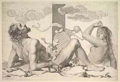 Claude Mellan Drawing - Adam And Eve At The Foot Of The Cross by Claude Mellan