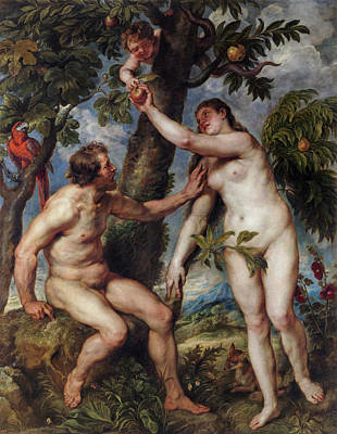 Religion Painting - Adam And Eve, Copy Of Titian by Peter Paul Rubens