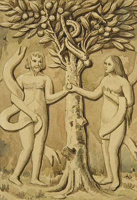 Apple Drawing - Adam And Eve by Joseph Manning