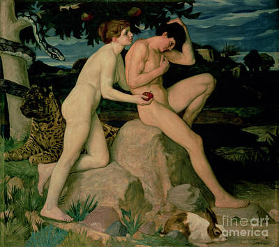 Burmese Python Painting - Adam And Eve  by William Strang