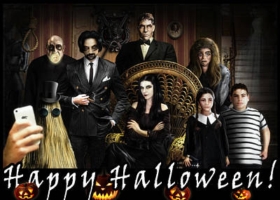 Monster Digital Art - Addams Halloween Greeting Card by Alessandro Della Pietra