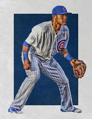 Bat Mixed Media - Addison Russell Chicago Cubs Art 2 by Joe Hamilton