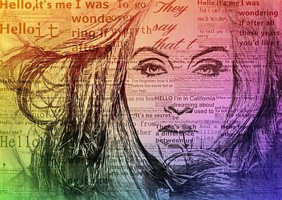 Adele Digital Art - Adele Hello Typography  by Dan Sproul