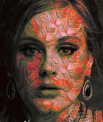 Adele Digital Art - Adele Portrait Pattern by Yury Malkov