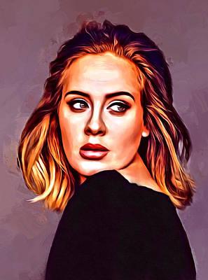 Adele Digital Art - Adele Portrait by Scott Wallace