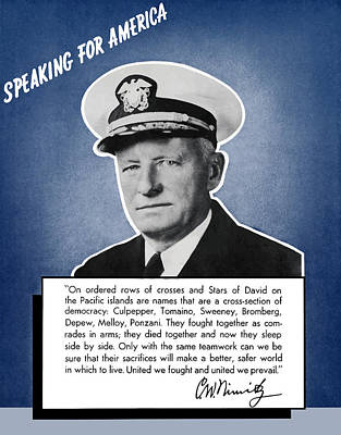 Patriot Mixed Media - Admiral Nimitz Speaking For America by War Is Hell Store