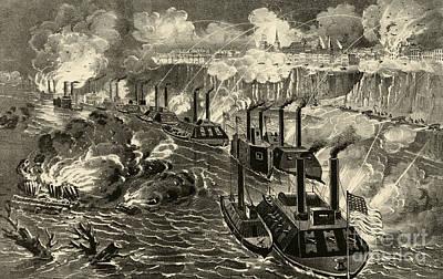 Us Navy Drawing - Admiral Porter's Fleet Running The Rebel Blockade Of The Mississippi At Vicksburg by American School