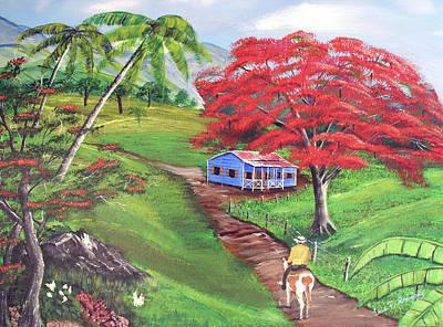 Flamboyan Tree Painting - Admirando El Campo by Luis F Rodriguez