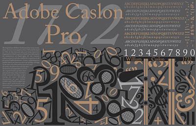 Adobe Caslon Pro Gray Poster Original by Leon Gorani
