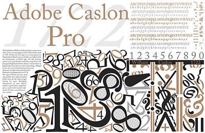 Adobe Caslon Pro White Poster Original by Leon Gorani