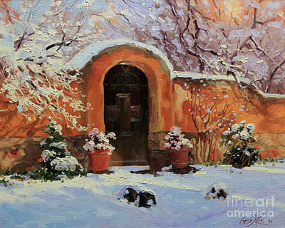 Ristra Painting - Adobe Wall With Wooden Door In Snow. by Gary Kim