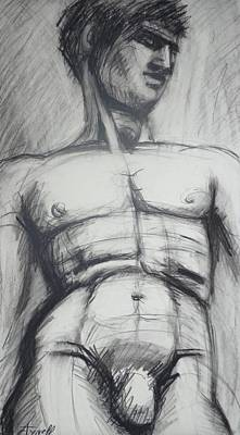 Male Drawing - Adonis - Male Nude  by Carmen Tyrrell