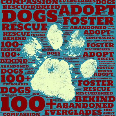 Puppy Mixed Media - Paw Print Adopt Green by Brandi Fitzgerald