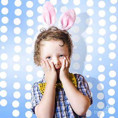 Adorable Little Kid Wearing Easter Bunny Ears Print by Jorgo Photography - Wall Art Gallery
