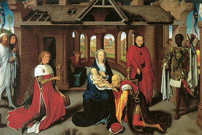 Religious Art Painting - Adoration Of The Magi  by Hans Memling