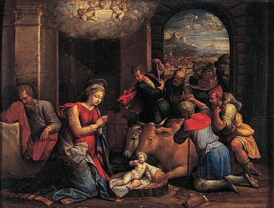 Benvenuto Tisi Painting - Adoration Of The Sheperds by Benvenuto Tisi