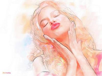 Adriana Lima Kiss Print by Alan Armstrong