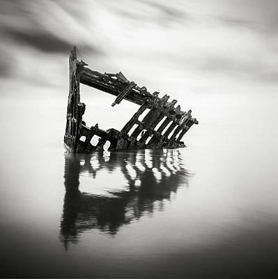 Adrift At Sea Monochromatic Square Original by Eduard Moldoveanu